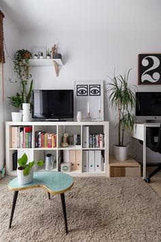 Two Designers Share a Teeny Tiny Scandi-Inspired Barcelona Flat: gallery image 13 Living Room Decor, Living Spaces, Bedroom Decor, Metal Shelving Units, Shelves, Storage Shelving, Deco Studio, My New Room, Home And Living