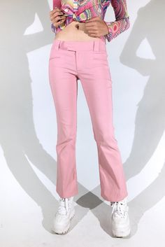 FLARED BABE || SHOP HERE: https://www.goodbyebread.com/collections/internet-girl/products/life-in-plastic-guess-flares #goodbyebread #internetgirl #photoshoot #life #in #plastic #baby #pink #medium #rise #guess #pants #flares #zipper #faux #belt #pockets #white #creepers #crop #top