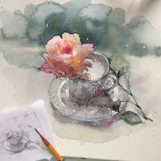 "Watercolour sketch ""Rose tea"" by Katerina Pytina (@kataucha) on Instagram: ""Розовое чаепитие"""