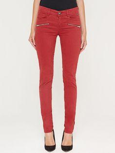 Red Cotton-blend Casual Zipper Skinny Leg Pants - StyleWe.com
