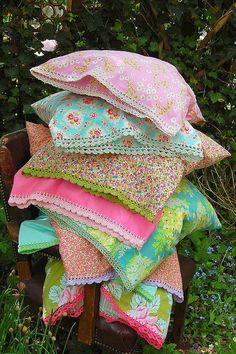 Floral pillow case, crochet edge.