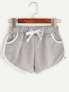 Shop Heather Grey Contrast Trim Drawstring Shorts at ROMWE, discover more fashion styles online. Lazy Day Outfits, Short Outfits, Girl Outfits, Cute Outfits, Fashion Outfits, Fashion Shirts, Teen Fashion, Korean Fashion, Vetement Fashion
