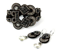 Madison evening black crystal bracelet & earrings  #DoriCsengeri #crystals #black #elegant #evening #jewelry #statement #bracelet #dropearrings