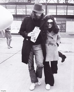 John, and Yoko at Inverness Dalcross Airport after they leave Lawson Memorial Hospital, 1969.