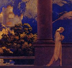 Maxfield Parrish 'Romance'(detail) 1922  Maxfield Parrish (1870 - 1966) American painter and illustrator.  oil on board