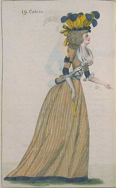Journal de la Mode et du Gout, August 1790. Orange and blue again! Love those stripes…