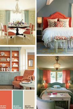 Coral and Aqua Rooms (I'm loving the top right hand bedroom!)