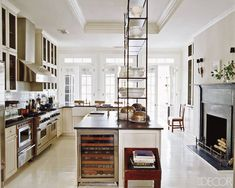 I am a fan of a fireplace in a kitchen... Home Decorating Ideas: Darryl Carter's D.C. Townhouse - ELLE DECOR