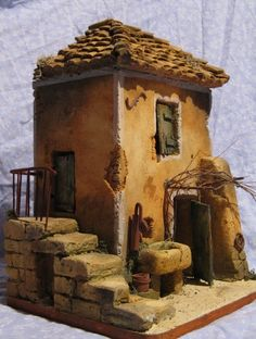 cabanon Clay Houses, Ceramic Houses, Paper Houses, Miniature Houses, Painted Bricks Crafts, Brick Crafts, Wood Crafts, Wargaming Table, Diy Nativity