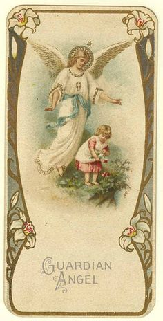 Angelo Custode to have my guardian angel in heaven watching over me and cheering me on. Angel Protector, Vintage Illustration, Vintage Holy Cards, I Believe In Angels, Ange Demon, My Guardian Angel, Angel Pictures, Angels Among Us, Angels In Heaven