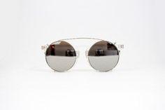 Óculos de sol redondo espelhado transparente