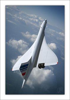 Vintage Aircraft Beautiful Concorde in flight. Air France, Sud Aviation, Civil Aviation, Concorde, Avion Jet, Tupolev Tu 144, Jet Privé, Photo Avion, Passenger Aircraft