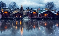 Winter magic - Pinned by Mak Khalaf Taken at in Finland-Porvoo this is the old part of Porvoo town. Snowfall i have made at Photoshop. Landscapes FinlandPorvoobuildingchristmasfallhouseicelightnightoldreflectionriversnowtowntreewhite by New Wallpaper Hd, City Wallpaper, Original Wallpaper, Apartment With Roommates, City Map Poster, Snow Covered Trees, Brown House, Winter Magic, City Maps