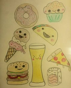 Some of my favourite things... #sketch #draw #sketchbook #doodle #pencil #instaart #drawings #sketching #artoftheday #instaartist #artsy #myart #adorable #food #foodlover #tasty #hungry #yum #dessert #foods #nomnom #burger #hamburger #pizza #pizzalover #taco #beer #sushi #donut #icecream