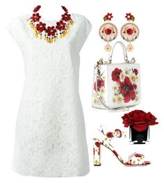 """""""White lace and poppies"""" by easy-dressing ❤ liked on Polyvore featuring Yves Saint Laurent, Dolce&Gabbana and Hervé Gambs"""