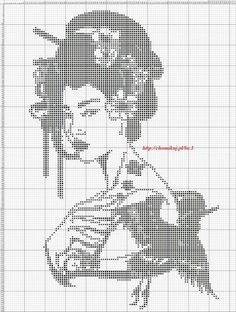 LOVELY GEISHA~counted cross stitch pattern #1542~Oriental Asian People Chart