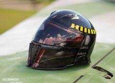 Spartan Helmet collab with Bobba Fett Star Wars 2 Sparta Helmet, Custom Motorcycle Helmets, Bike Helmets, Boba Fett Helmet, Helmet Brands, Predator Helmet, Star Wars Film, Helmet Design, Dirt Bikes