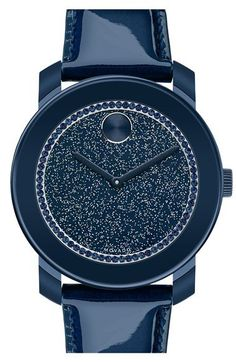 Movado 'Bold' Glitter Dial Leather Strap Watch, 42mm (Regular Retail Price: $495.00) | Nordstrom