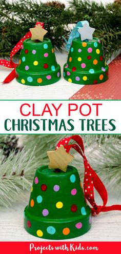 Clay Pot Christmas Tree Ornaments are so cute and fun for kids to make! They are an easy Christmas ornament craft that kids of all ages will be able to create. crafts for kids How to Make Adorable Clay Pot Christmas Tree Ornaments Diy Gifts For Christmas, Easy Christmas Ornaments, Homemade Christmas, Christmas Fun, Christmas Decorations, Clay Ornaments, Cinnamon Ornaments, Tree Decorations, Easy Kids Christmas Crafts