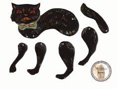 Black cat paper doll by Katelan V. Foisy, Mistress of Magic Paper Puppets, Paper Toys, Moving Dolls, Vintage Halloween Images, Halloween Doll, Halloween Tricks, Paper Dolls Printable, Paper Animals, Vintage Paper Dolls