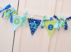 Shabby Chic Rag Flag Fabric Highchair Banner in Turquoise Aqua Navy Blue Lime - Shabby Bunting ONE - ONE Banner