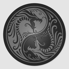 Yin Yang Dragons, grey and black Classic Round Sticker Dragon Coloring Page, Coloring Pages, Adult Coloring, Yin Yang Tattoos, Dragon Yin Yang Tattoo, Yin Yang Designs, Dragon Tattoo For Women, Beautiful Dragon, Dragon Design