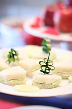 cucumber sandwiches with peel garnish
