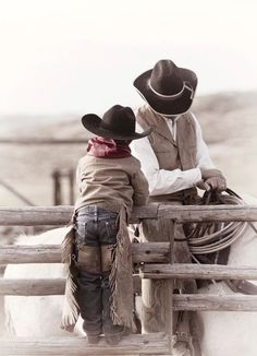 Like Father...Like Son. Fathers you don't have to be a cowboy to spend time being a good example for your son, just spend quality time together doing/teaching him responsibility, honesty, faith, caring.... you both will be the better for it.