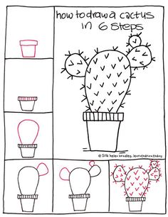 How to draw a cactus in six steps