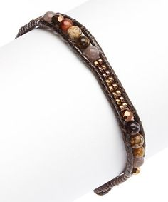 This Brown Crystal Stone Bracelet by PANNEE JEWELRY is perfect! #zulilyfinds