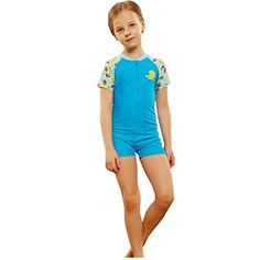 Kelaixiang Short Sleeves One Piece Swimsuit For Girls Zipper Closure 120cm blue * For more information, visit image link.