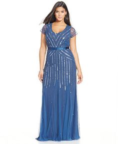 Adrianna Papell Plus Size Sequined Gown - Dresses - Women - Macy's