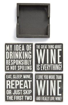 PRIMITIVES BY KATHY 'Wine' Wood Coasters (Set of 4) available at #Nordstrom