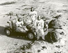 Apollo 16 astronauts (left to right), Lunar Module Pilot Charles M. Duke, Commander John W. Young, and Command Module Pilot Thomas K. Mattin.