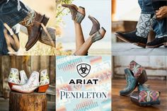 We are living for the collabs between all of our favorite Western industry companies and Ariat x Pendleton is no exception! Cowgirl Fashion, Cowgirl Style, Cowgirl Boots, Shoe Collection, Westerns, Accessories, Shoes, Zapatos, Shoes Outlet