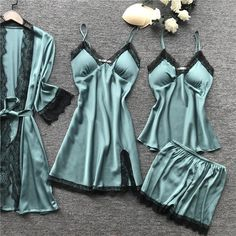 Satin Sleepwear, Satin Pyjama Set, Satin Pajamas, Nightwear, Pajama Set, Pyjamas, Sexy Pajamas, Pajamas Women, Color Negra