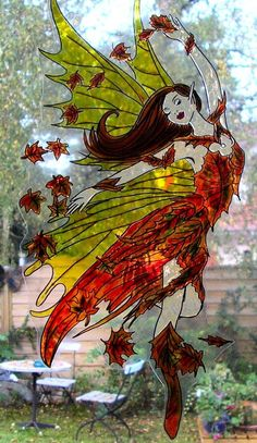 WICOART STICKER WINDOW COLOR CLING FAUX STAINED GLASS FALL FAIRY DANCE FÉE FAE