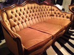 Antique Vintage French Provincial Golden Velvet Sofa Lounge Chair SET Circa 1920   eBay