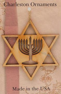 Star of David Ornament, Menorah Hanukkah decoration, Hanukkah ornament, Menorah Ornament