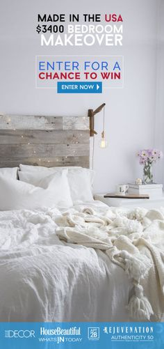 Made in the USA Bedroom makeoverWin a $3,400 bedroom shopping spreeENTERfor A CHANCE TO WIN!