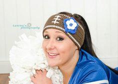 Crochet Football Headband Earwarmer Any Team Colors Tailgating Must Have