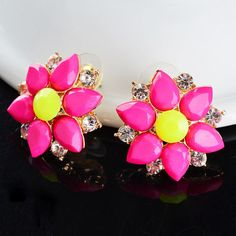 Fashion Attractive Occident style crystal Bib Statement Neon Stud Earring A02