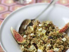 quinoa, figue, bûche de chèvre, Huile d'olive, vinaigre balsamique, Poivre, Sel