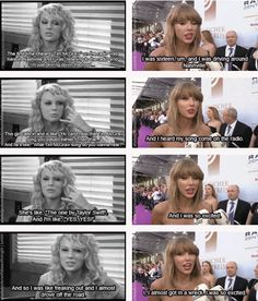 "Taylor talking about the first time she heard ""Tim McGraw"" on the radio in 2006 and 2014 (gifset: http://ts-1989.tumblr.com/post/98220750253/afadedpictureofabeautifulnight-then-and-now)"