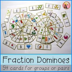 Fraction dominoes: perfect for enriching fraction lessons and is great as an activity on its own. It has 54 fraction cards $ #math #fractions