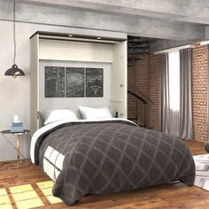 Bed & Room Porter Queen Portrait Wall Bed with Internal Storage in White Murphy Bed Desk, Murphy Bed Plans, Queen Mattress, Queen Beds, Modern Murphy Beds, Bed Dimensions, Built In Desk, Bed Wall, Decorate Your Room