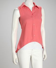 Take a look at this Coral Sleeveless Hi-Low Button-Up by Clothing Showroom on #zulily today!  $24.99, regular 55.00
