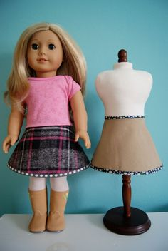 18 Inch Doll Skirt Tutorial finished skirt: this reversible skirt uses the pattern piece from the free Oliver + S Bucket Hat pattern!