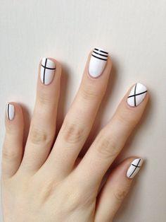 "blancnails: ""NOTD inspired by nail art in CLC's Pepe mv! Tape Nail Art, Nail Art Diy, Trendy Nail Art, Stylish Nails, Nail Art Designs Videos, Nail Designs, Feet Nail Design, Mens Nails, Minimalist Nails"