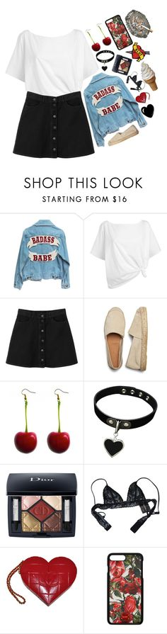 """""""cherry on top"""" by emmy-mp3 ❤ liked on Polyvore featuring Red Herring, Monki, Christian Dior, Chantal Thomass, Chanel, Dolce&Gabbana, cherry and denimjackets"""